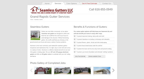 a-1 seamless gutters website design